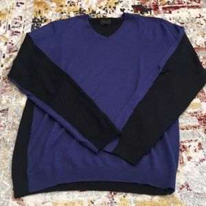 NY Based Men's Wool Sweater Blue/Black Sz Small